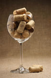 Wine corks in glass Royalty Free Stock Photo