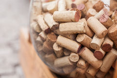 Wine corks in glass ball. Stock Photos