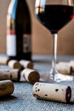 Wine Corks with glass and bottle. Beverage concept Stock Images