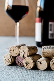 Wine Corks with glass and bottle. Beverage concept Stock Photos
