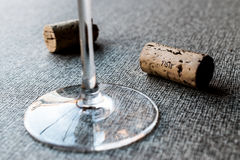 Wine Corks with glass. On smooth surface. beverage stuff Royalty Free Stock Photo
