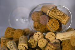 Wine corks with goblet Royalty Free Stock Images