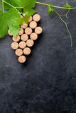 Wine corks grape shape and vine Royalty Free Stock Photos