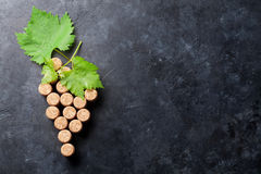 Wine corks grape shape and vine stock photography