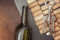Wine corks on a grey stone plate Royalty Free Stock Photography
