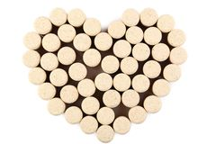 Wine corks in heart shape royalty free stock image