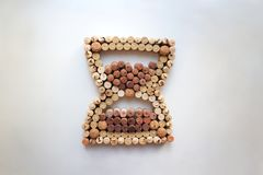 Wine corks hourglass from above royalty free stock photo