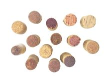 Wine corks, isolated. On white background. Top view and cut out Stock Photo