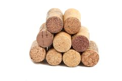 Wine corks isolated. On the white Stock Photos
