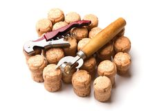 Wine corks and openers isolated on white background.  royalty free stock photography