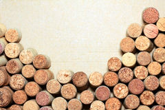 Wine corks on paper background for your text Royalty Free Stock Photo