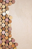 Wine corks on paper background for your text Royalty Free Stock Photography