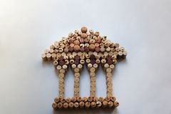 Wine corks Parthenon silhouette with copy space stock photo