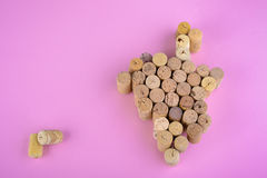 Wine corks on pink Royalty Free Stock Photos