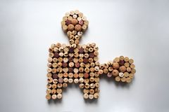 Wine corks puzzle item composition royalty free stock images