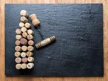 Wine corks in the shape of wine bottle. Stock Photo