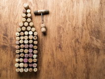 Wine corks in the shape of wine bottle. Royalty Free Stock Photos