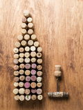 Wine corks in the shape of wine bottle. Royalty Free Stock Images