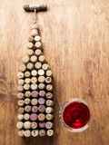 Wine corks in the shape of wine bottle. Royalty Free Stock Photography