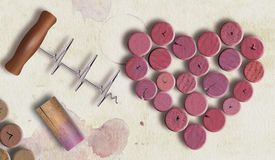 Free Wine Corks Stained Red By The Wine Are Shown In The Shape Of A Heart Stock Images - 166788394