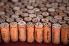 Wine corks standing up. Wine corks arrangement with perspective effect Stock Photography