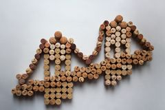 Wine corks suspension bridge silhouette royalty free stock images