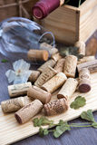 Wine corks on the table Royalty Free Stock Images