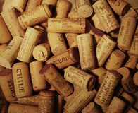 Wallpaper with many wine corks Stock Photography