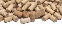 Wine corks on white. Background with copy space Royalty Free Stock Images