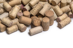 Wine corks on white. Wine corks isolated   on white background with copy space Stock Image