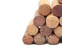 Wine corks on the white. Or background Stock Photos