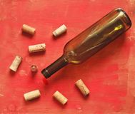 Wine corks  and wine bottle Stock Image