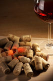 Wine corks with wine reflex Royalty Free Stock Images