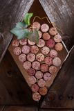 Wine corks in a wooden frame Royalty Free Stock Images