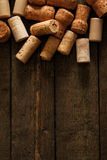 Wine corks. On wooden table Royalty Free Stock Photo
