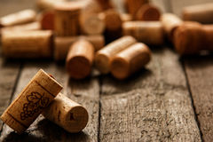 Wine corks. On wooden table Royalty Free Stock Photos