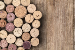 Wine corks on wooden Stock Photo