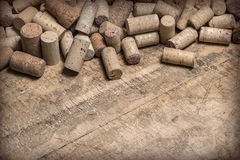 Wine corks on wooden table Stock Images
