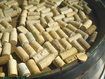Wine corks on wooden table. Close up of wine corks on wooden table stock photos