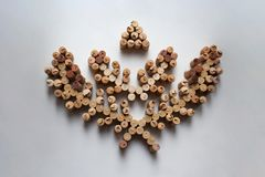 Wine corks wreath abstract composition on white background stock photo