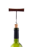 Wine Corkscrew in bottle cork in the neck of the bottle isolated Royalty Free Stock Photos
