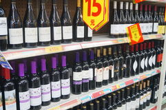 Wine counters in supermarkets Royalty Free Stock Image