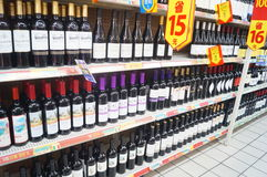 Wine counters in supermarkets Stock Image
