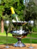 Wine Country. A Silver Champagne ice bucket, a bottle of Pinot Grigio, two delicate silver flutes, on an iron bistro patio table in a beautiful green country Royalty Free Stock Photo