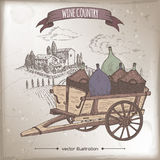 Wine country template with landscape and vintage cart. Royalty Free Stock Photos
