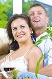 Wine and couple Royalty Free Stock Photo