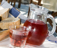 wine crusty bread  greek taverna Stock Photography