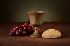 Wine Cup with  Grapes and Bread Stock Photography