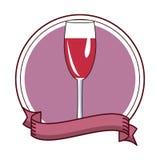 Wine cup pop art cartoon. Round emblem ribbon banner vector illustration graphic design stock illustration