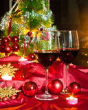 Wine and decorations for Christmas Stock Photography